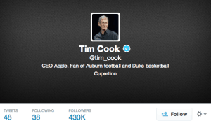 Tim Cook, on Twitter